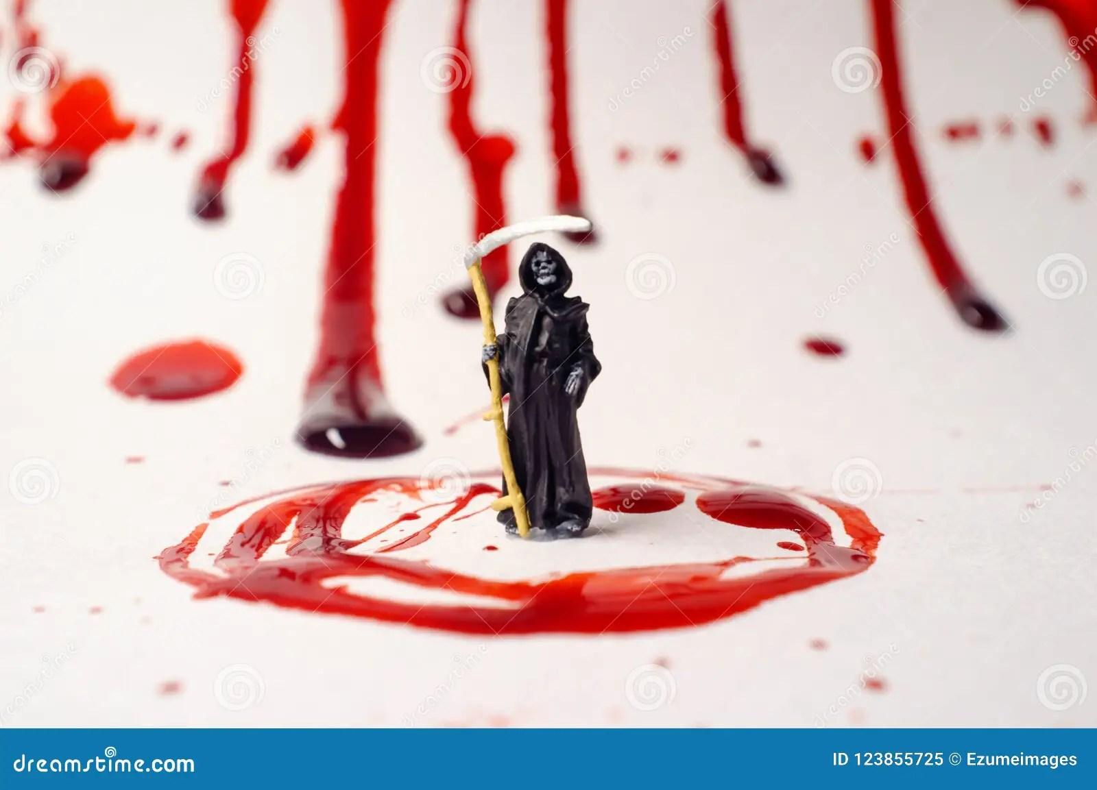 Grim Reaper Blood Splatter Stock Image Image Of Crime
