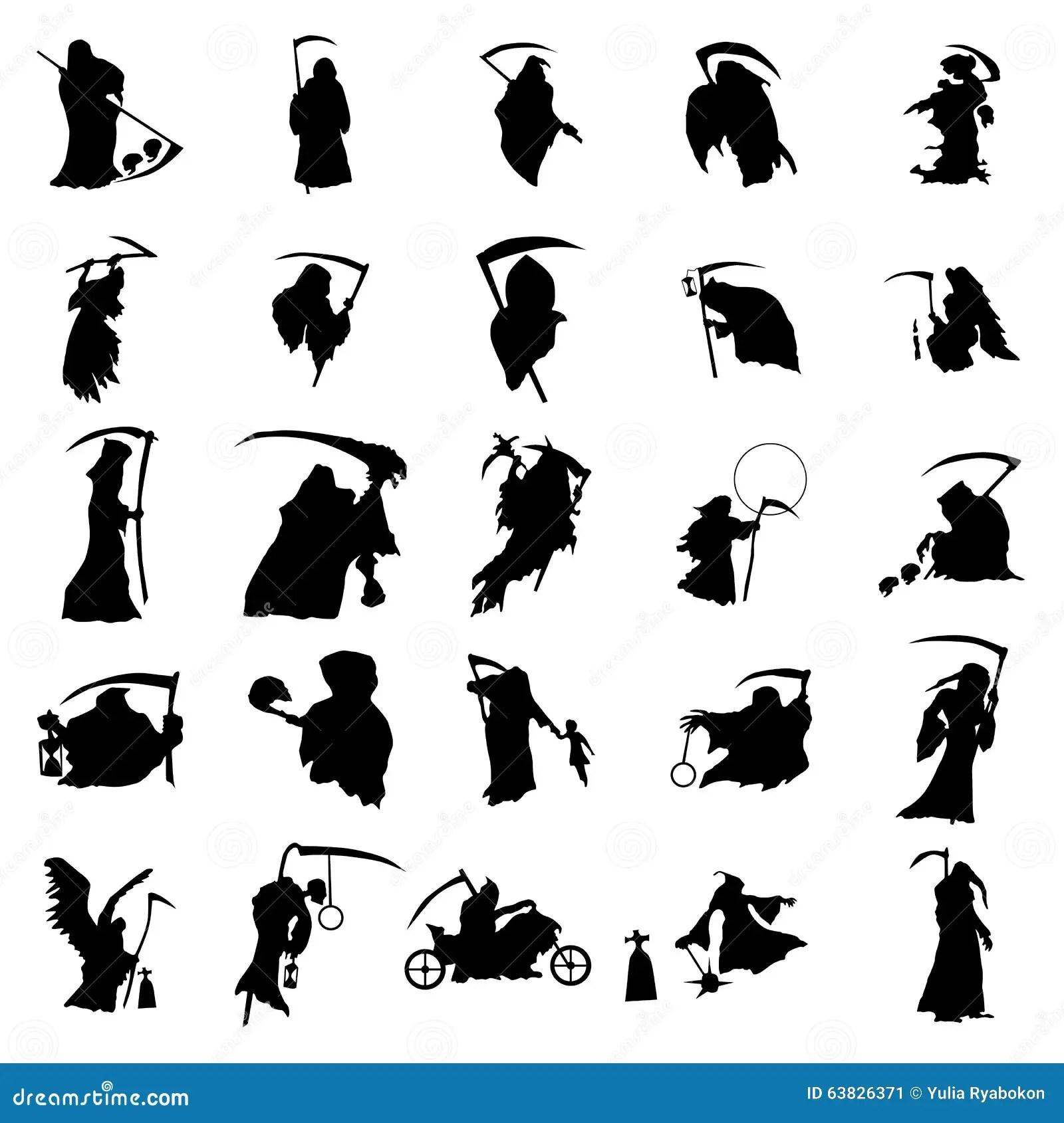 Grim Reaper Silhouette Set Stock Vector