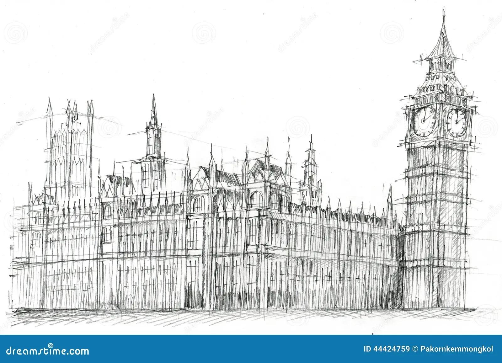 Gro Er Ben London Pencil Drawing Stock Abbildung