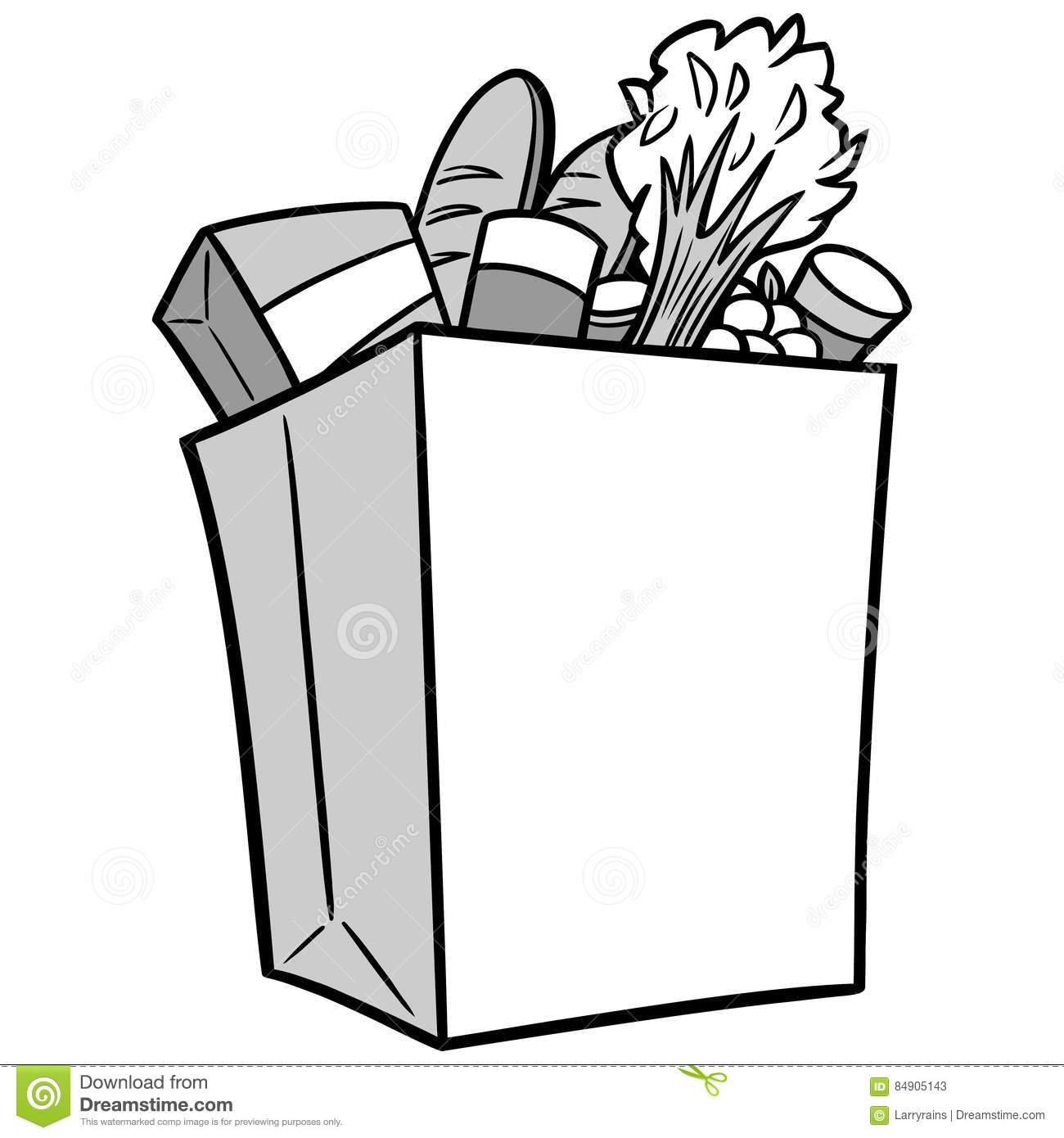 Grocery Bag Illustration Stock Vector Illustration Of