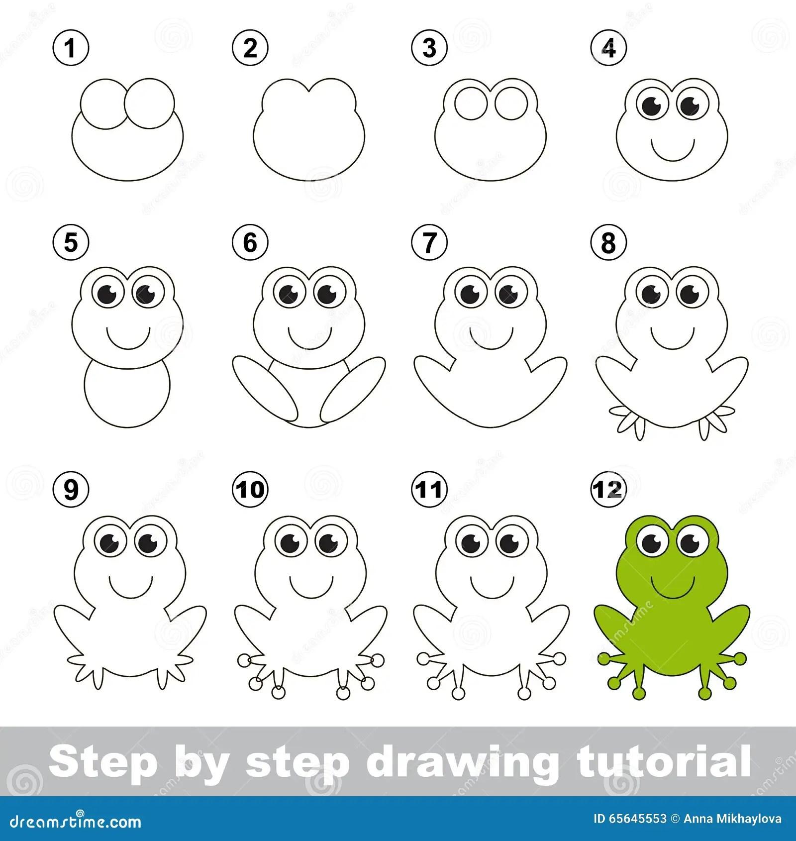 Groene Kikker Tekeningsleerprogramma Vector Illustratie