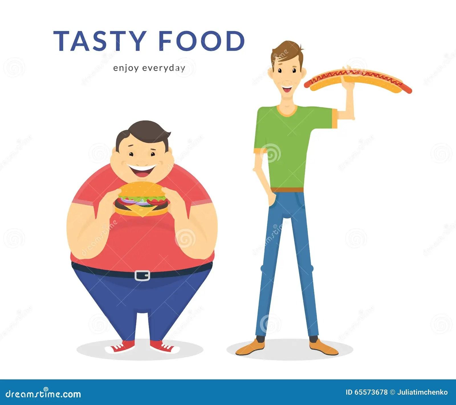 Gros Et Minces Hommes Heureux Mangeant D Un Grand Aliment