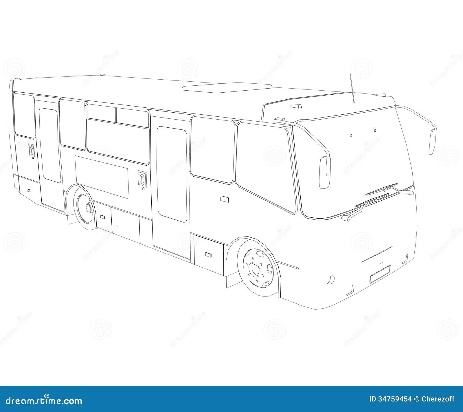 Grote Bus Draadkader Stock Illustratie Illustratie