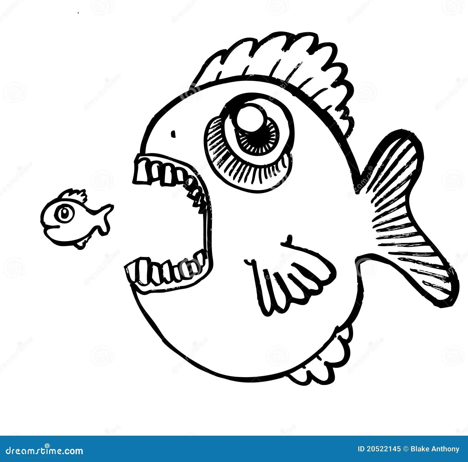 Grote Vissen Weinig Vis Eten Vector Illustratie