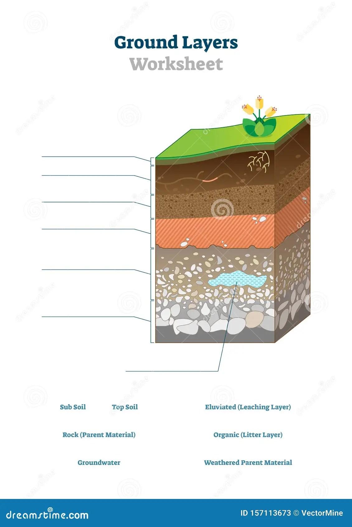 Ground Layers Worksheet Vector Illustration Soil Surface