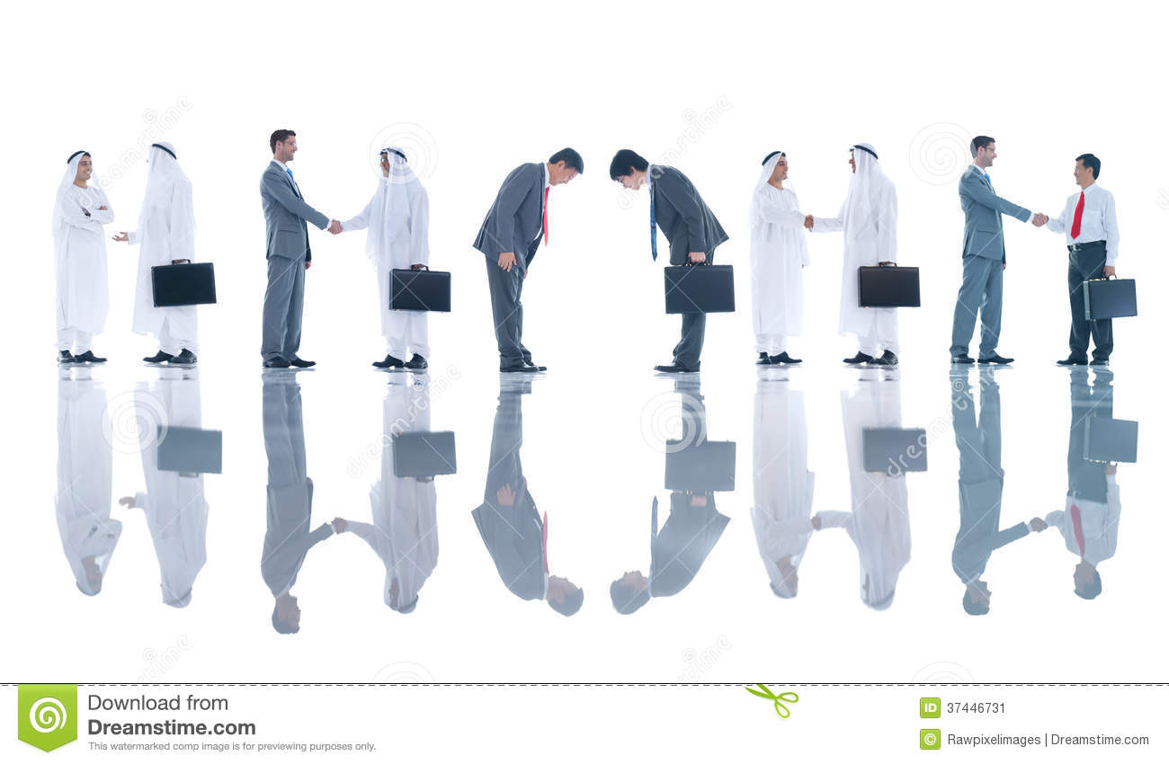 Group Of Business People Greeting Stock Image