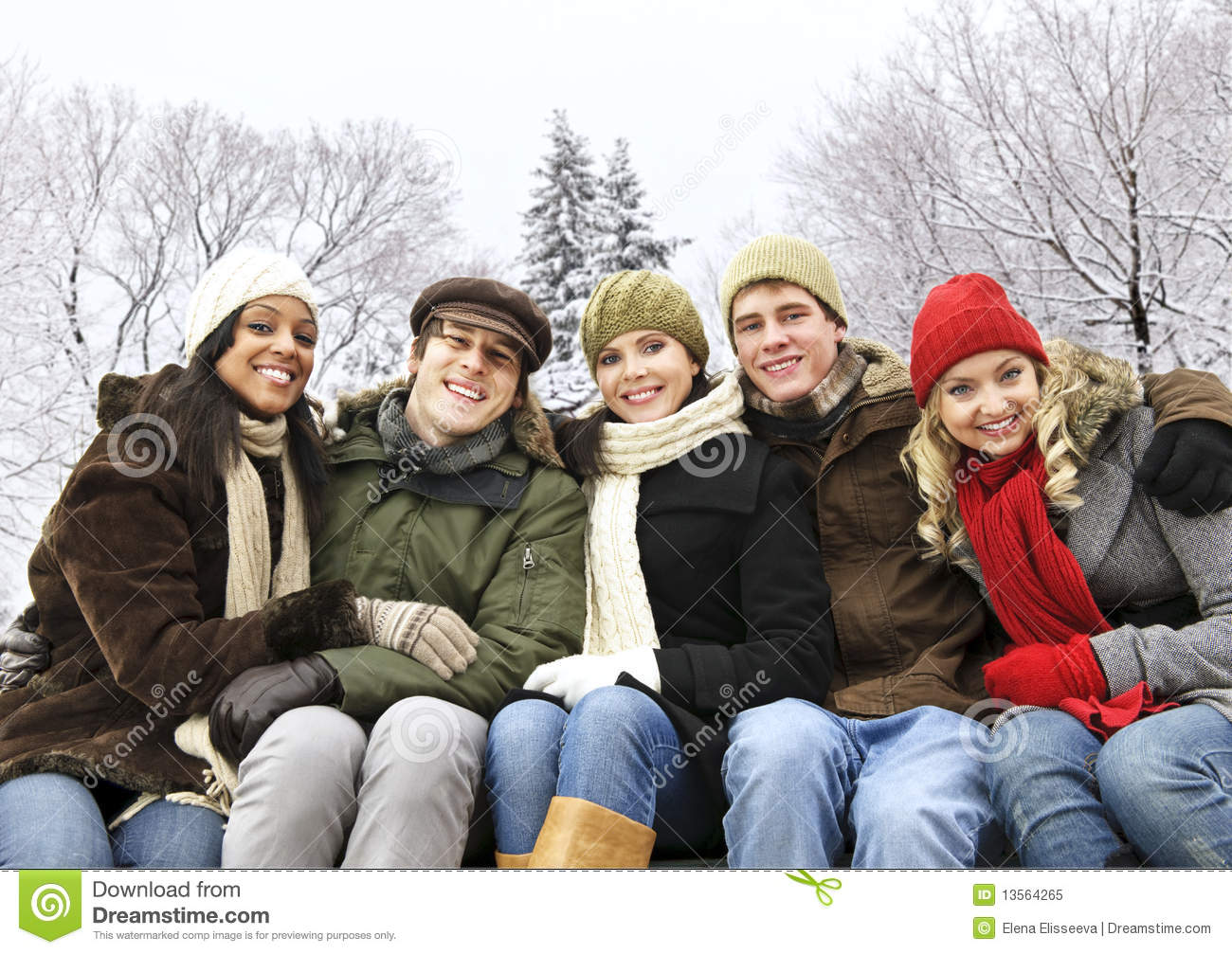 Group Of Friends Outside In Winter Stock Image