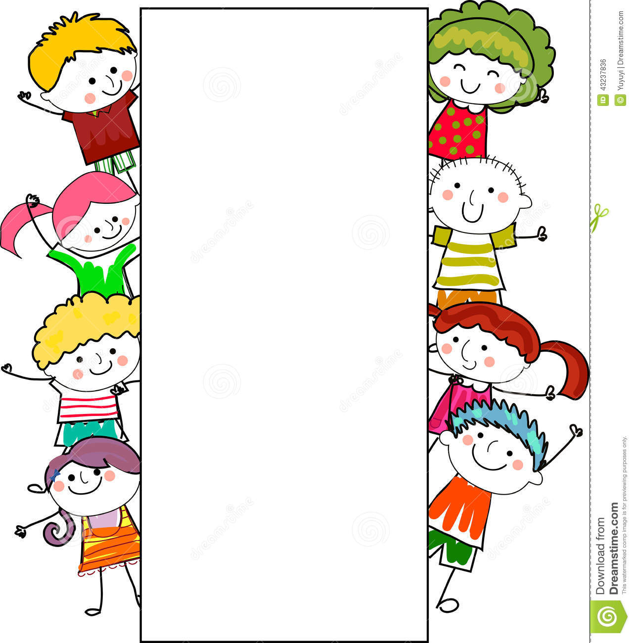 Group Of Kids Frame Stock Vector Image Of Comic