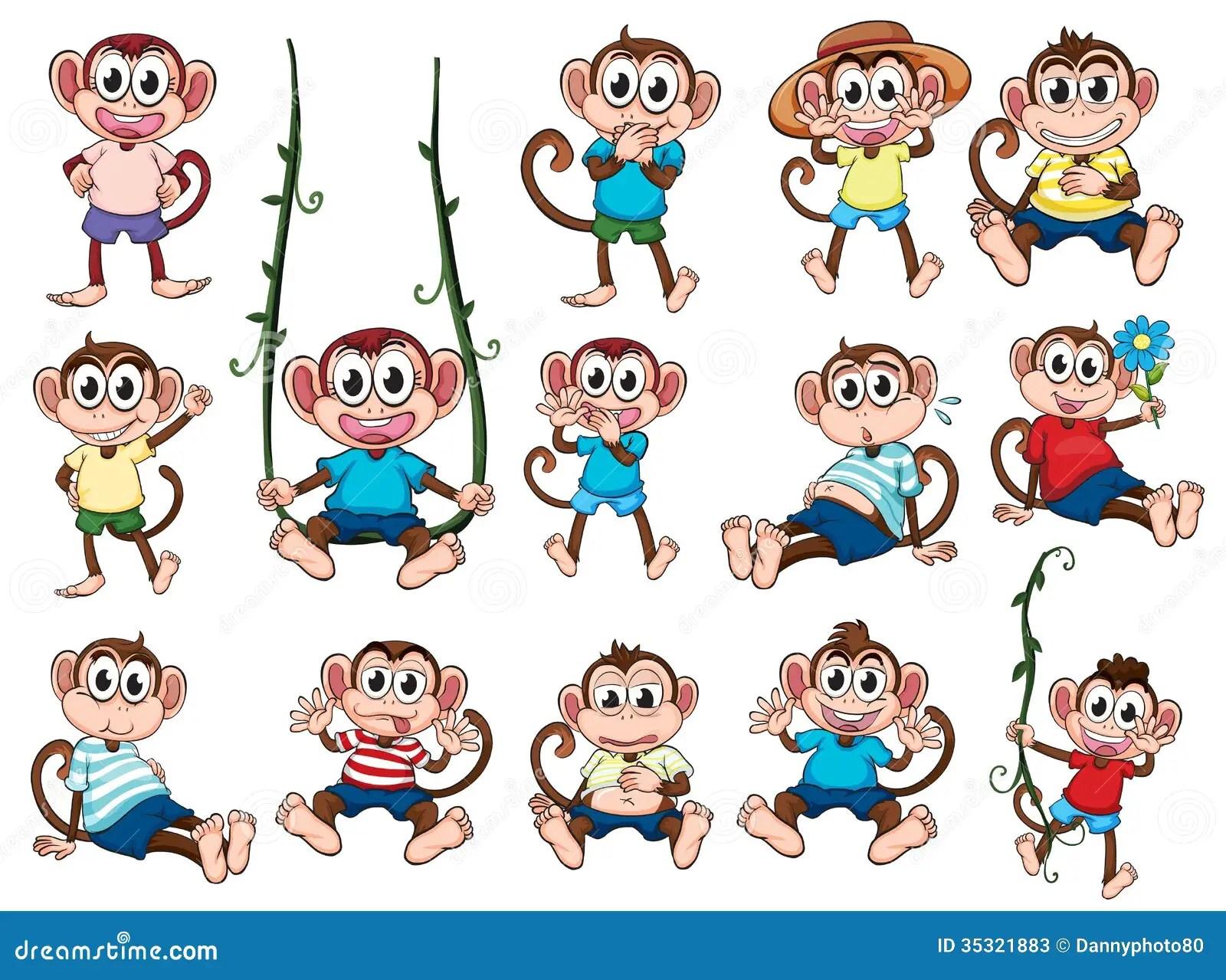 A Group Of Monkeys Stock Vector Illustration Of Monkeys