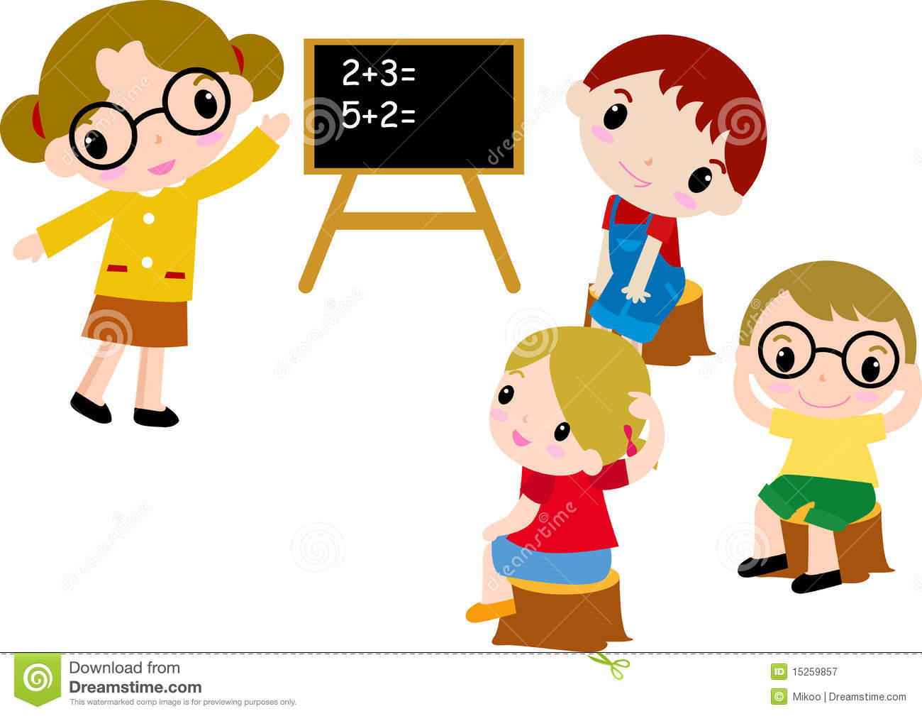 A Group Of School Kids Of Math Stock Vector