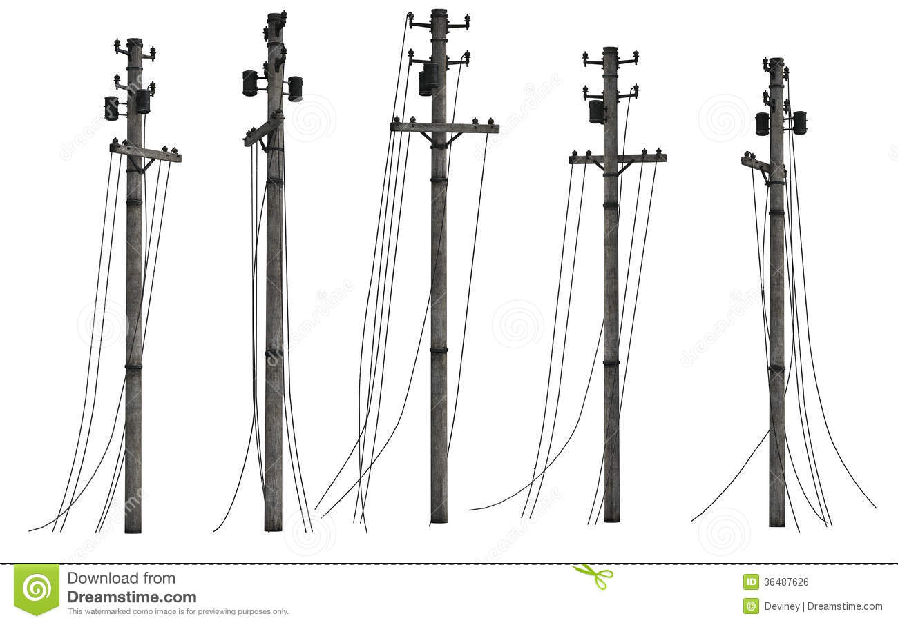 Group Of Utility Poles Royalty Free Stock Image