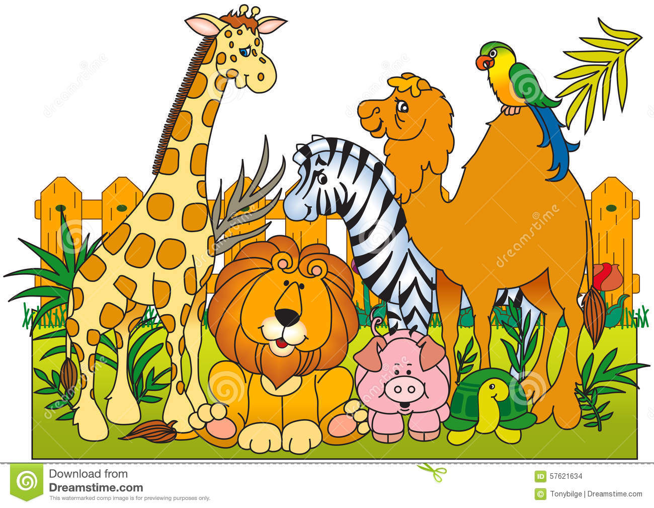 A Group Of Wild Animals Stock Vector