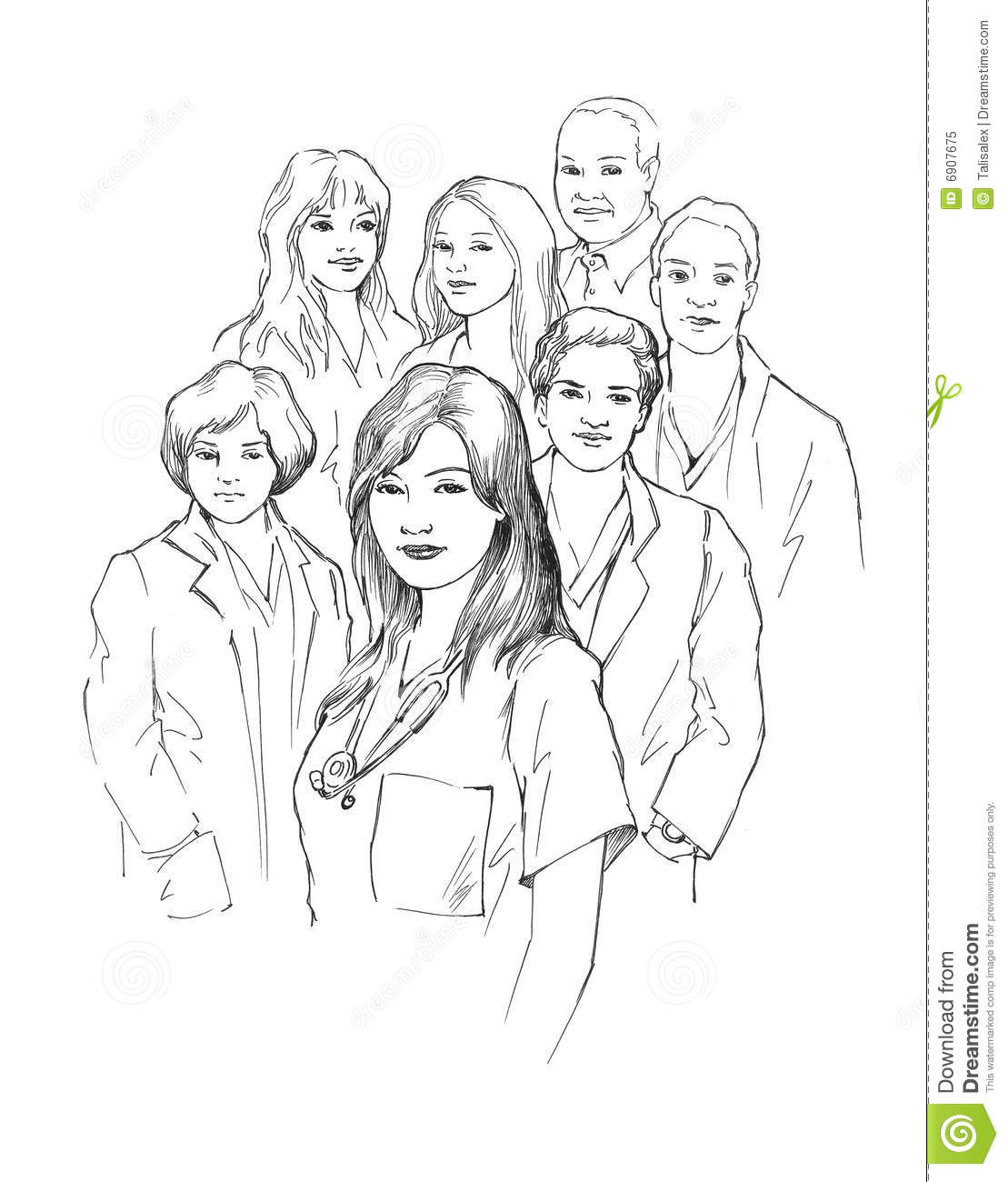 Group Of Young Doctors Stock Illustration Image Of