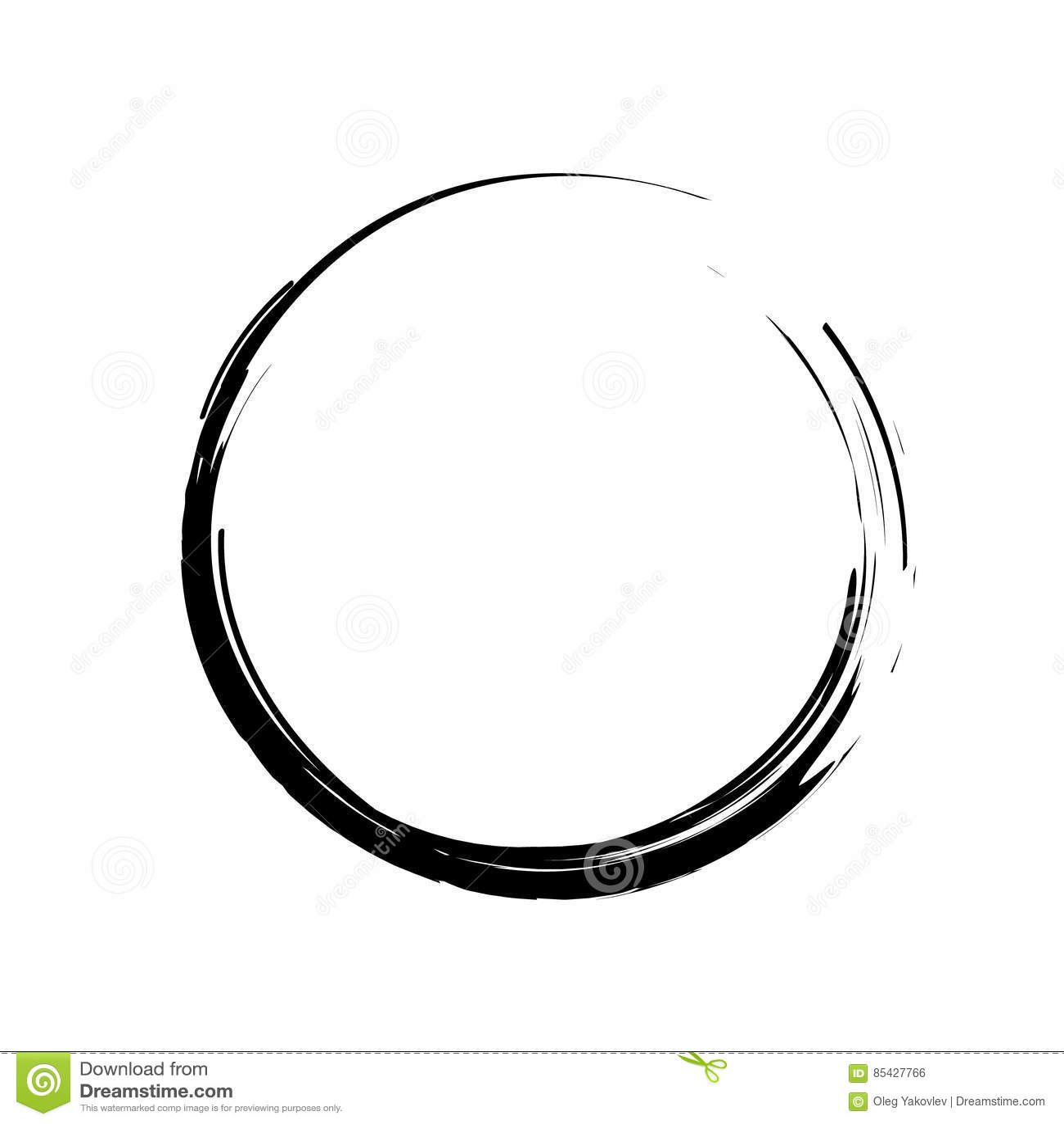 Grunge Circle Brush Strokes Stock Vector