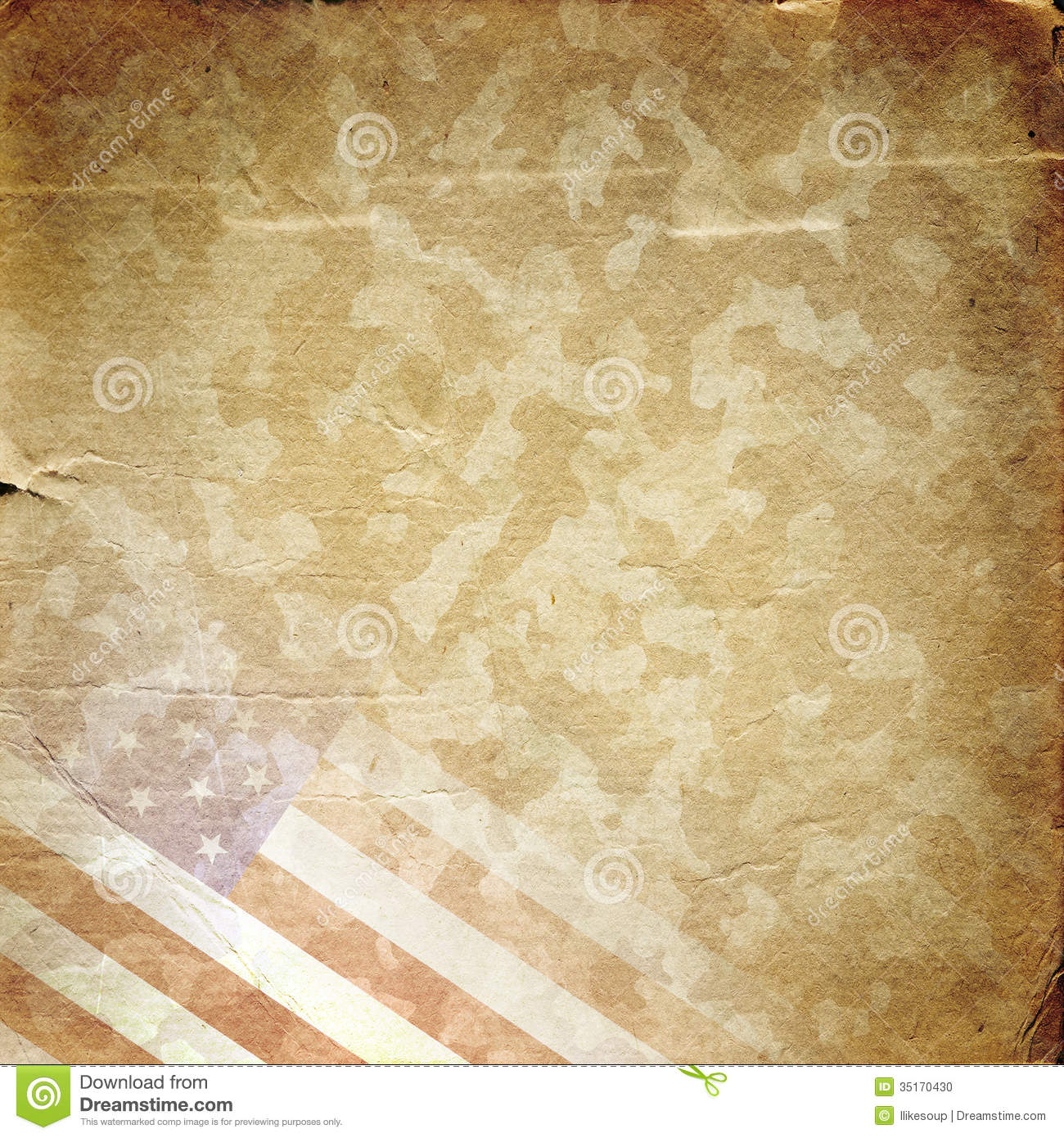 Grunge Military Background In Yellow Stock Illustration