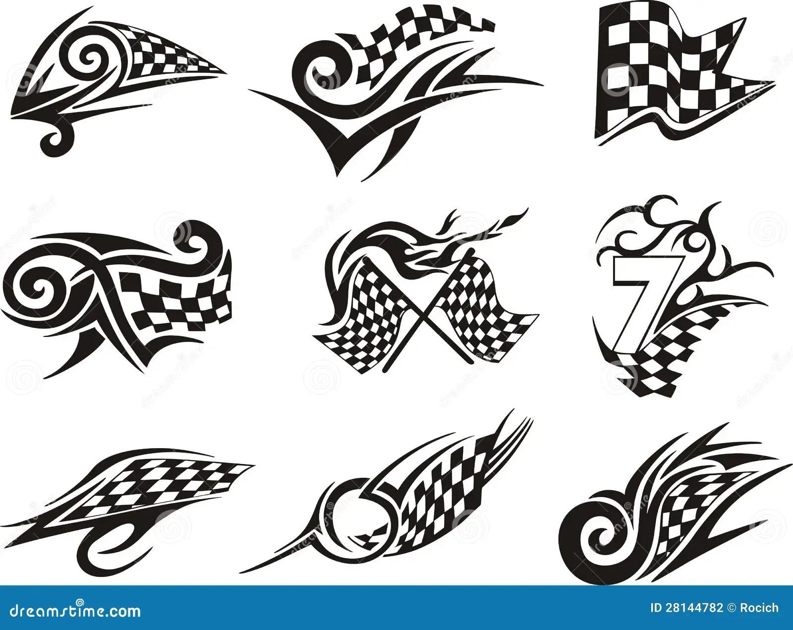 Grupo De Competir Tatuagens Com Bandeiras Checkered