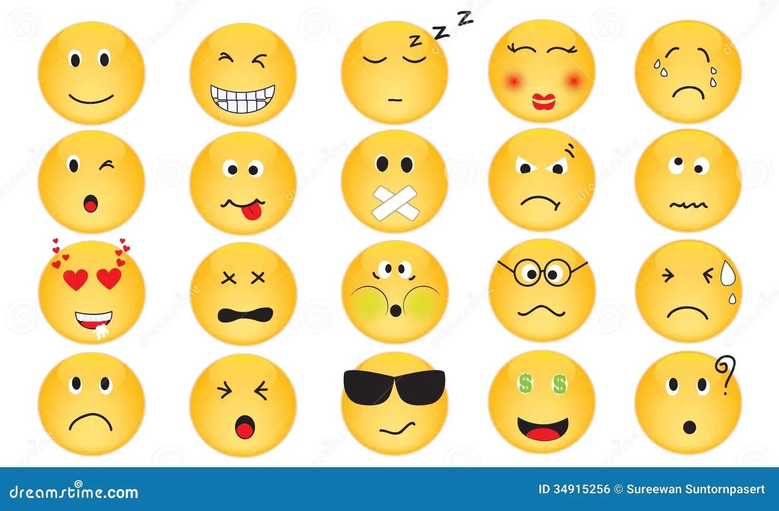 Grupo Do Vetor De Icones Da Emocao Imagem De Stock Royalty