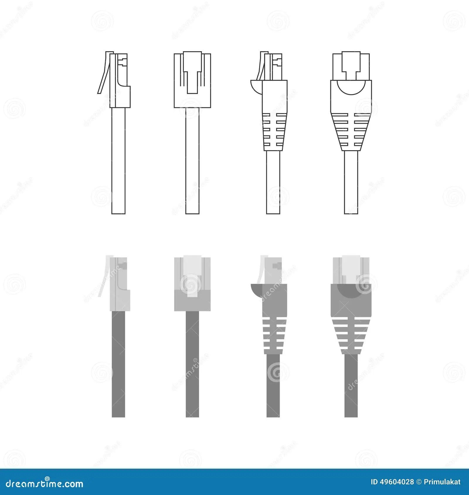Grupo Do Vetor De Conectores Dos Ethernet Ilustracao Do
