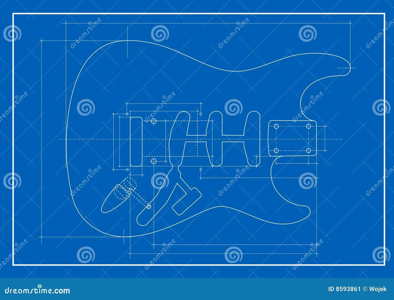 Guitar Blueprint Stock Image