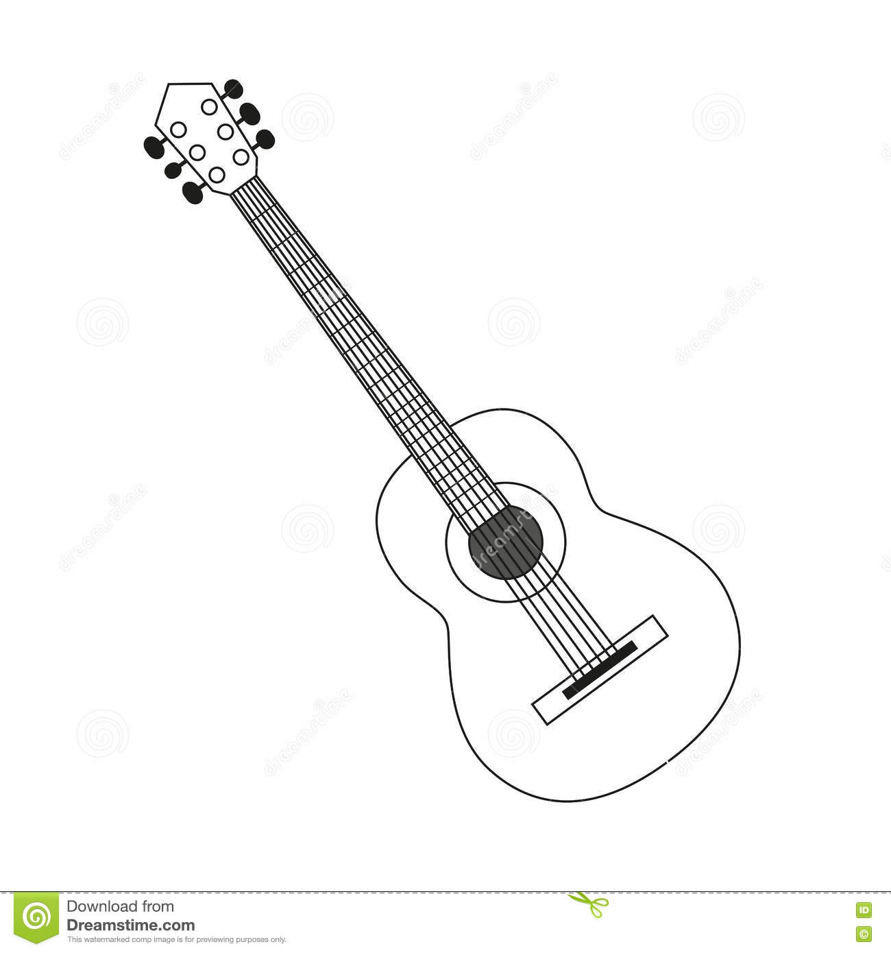 Icon Of Acoustic Guitar Icon White Contour On Black Of