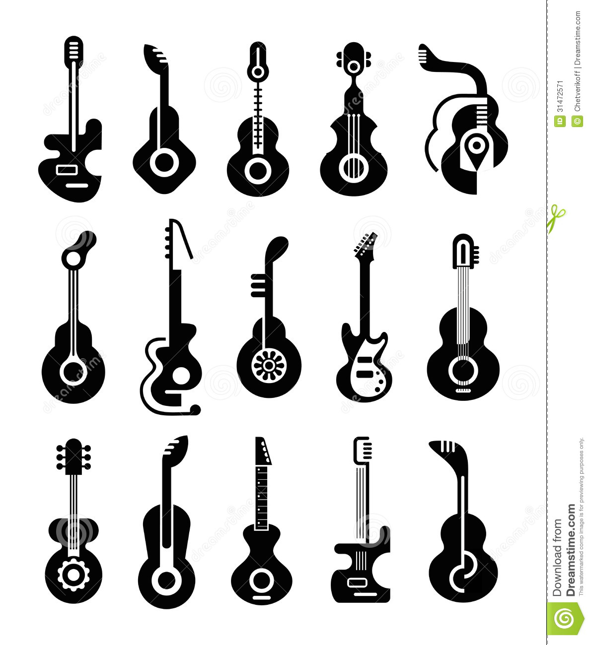 Guitar Icons Stock Vector Illustration Of Electric Icon