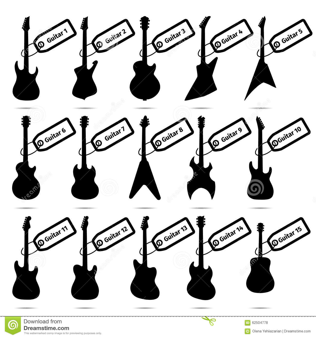 Guitar Icons Set Fifteen Different Models Stock Vector