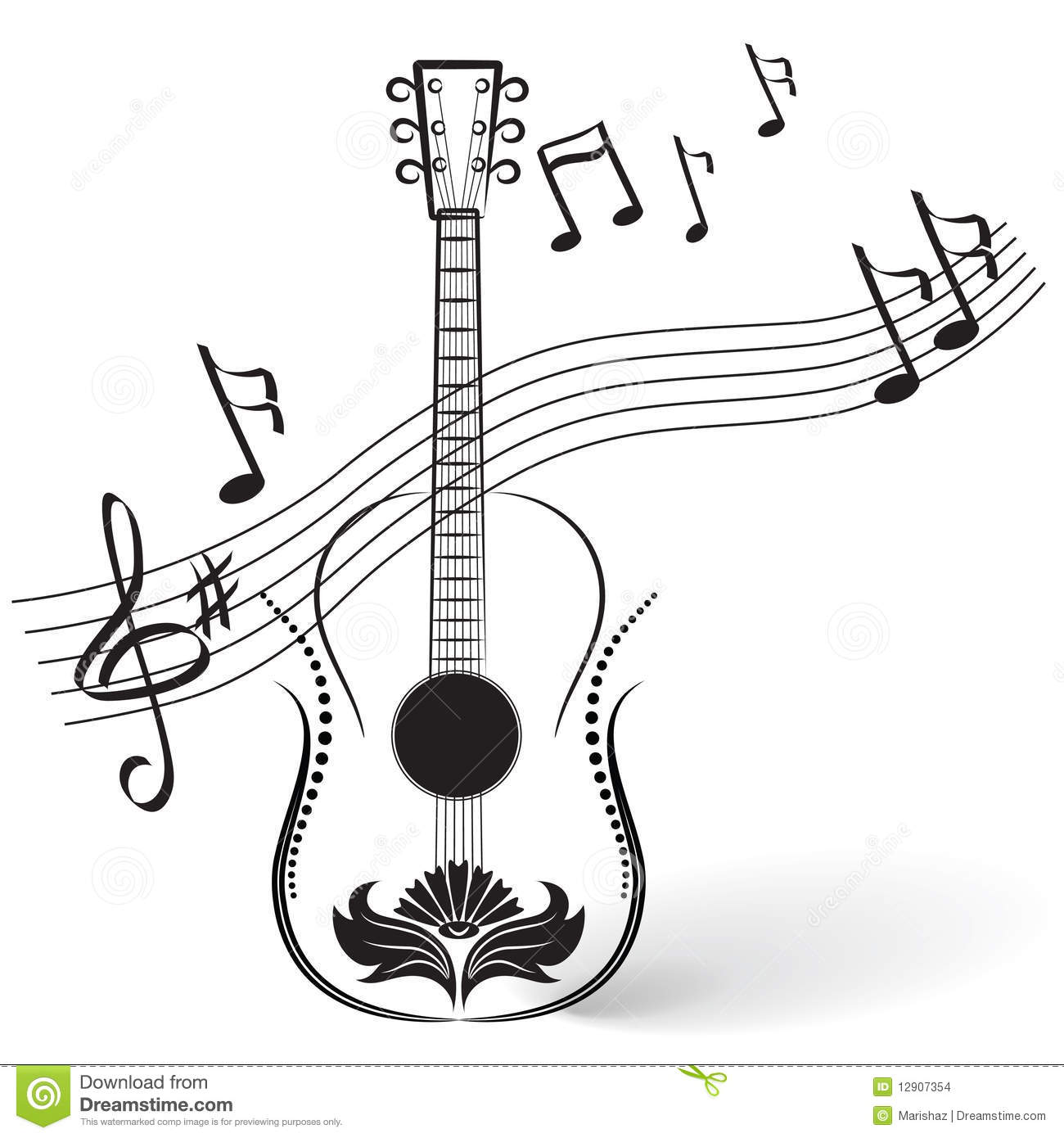 Guitar And Notes Stock Vector Illustration Of Leaf Shape