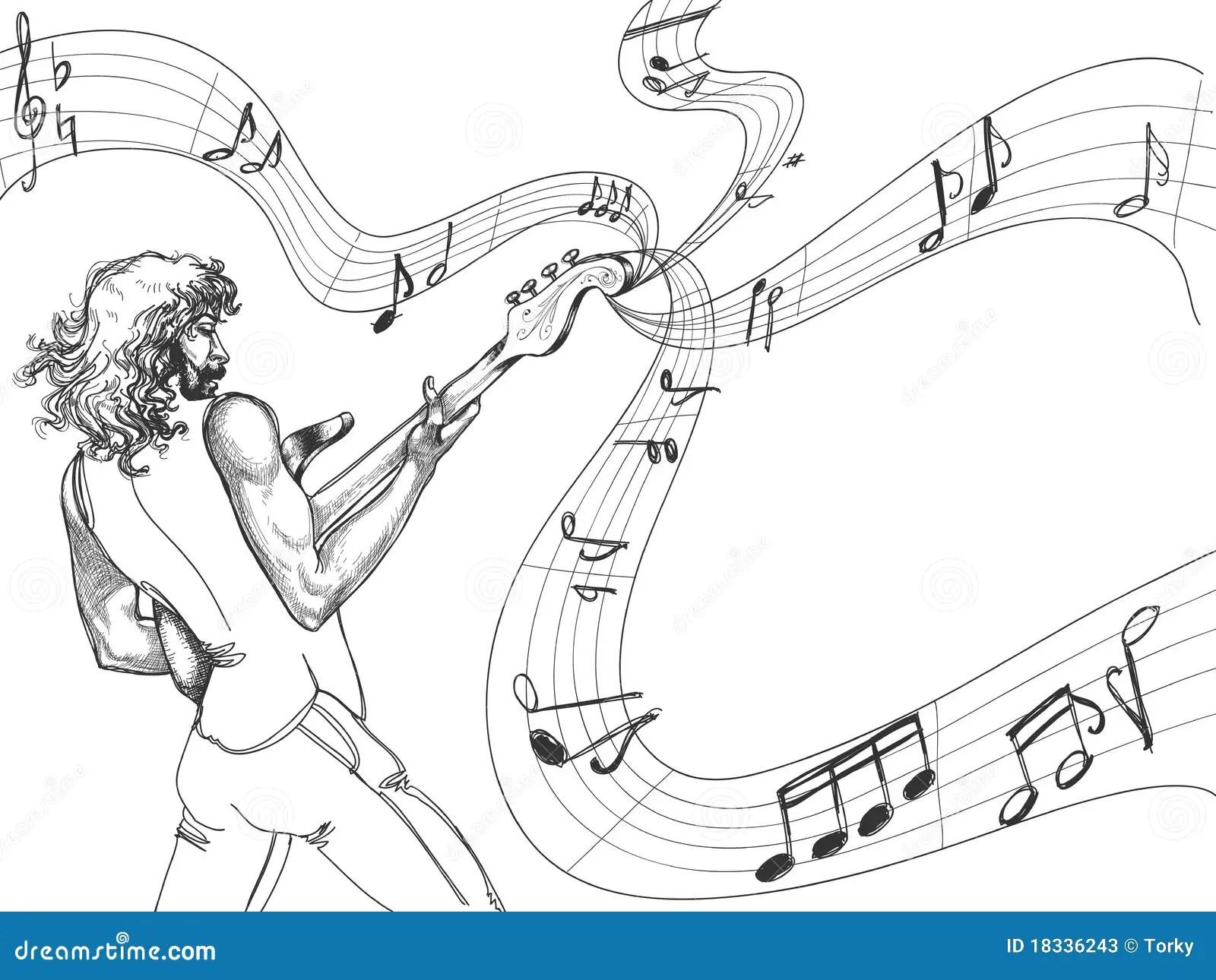 The Guitar Player Sketch Stock Photos