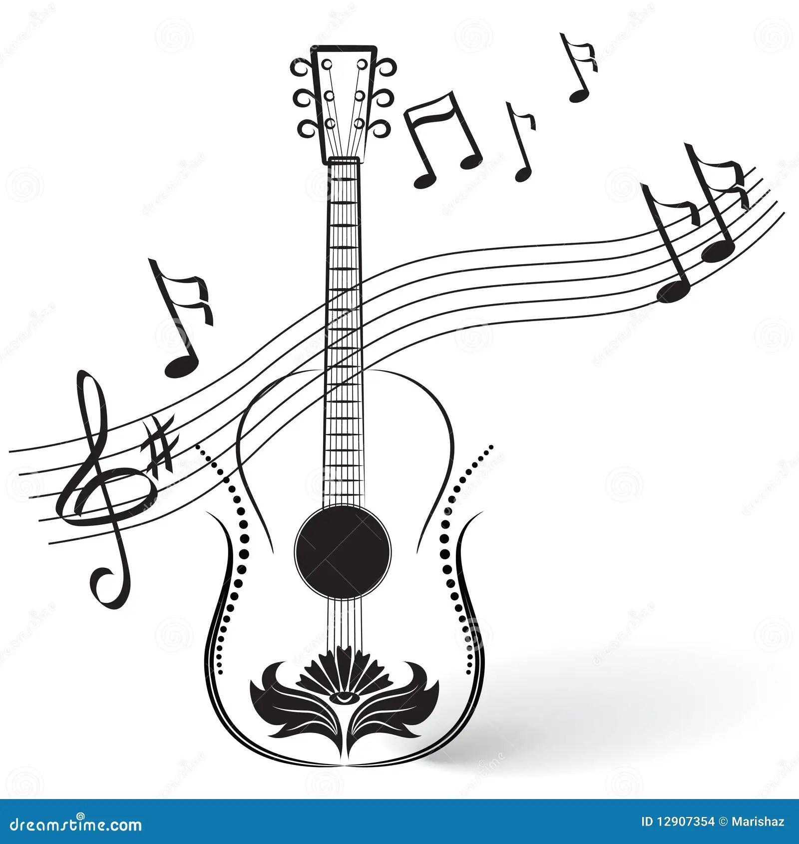 Guitare Et Notes Illustration De Vecteur Illustration Du
