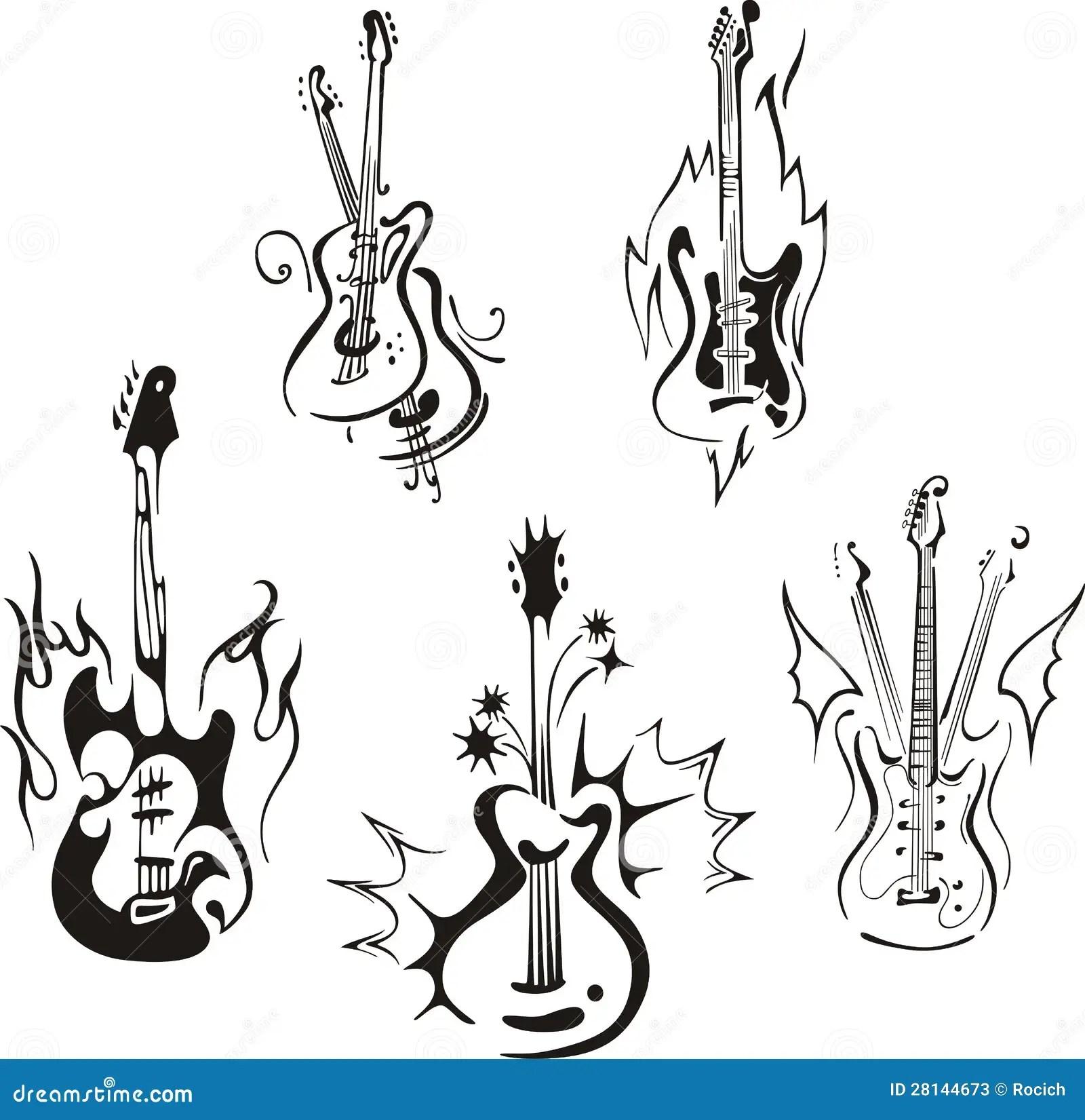 Guitarras Estilizadas Ilustracion Del Vector Imagen De Ilustracion