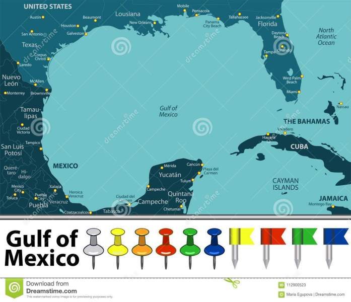 Gulf of Mexico map stock vector  Illustration of texas   112900523 Download comp