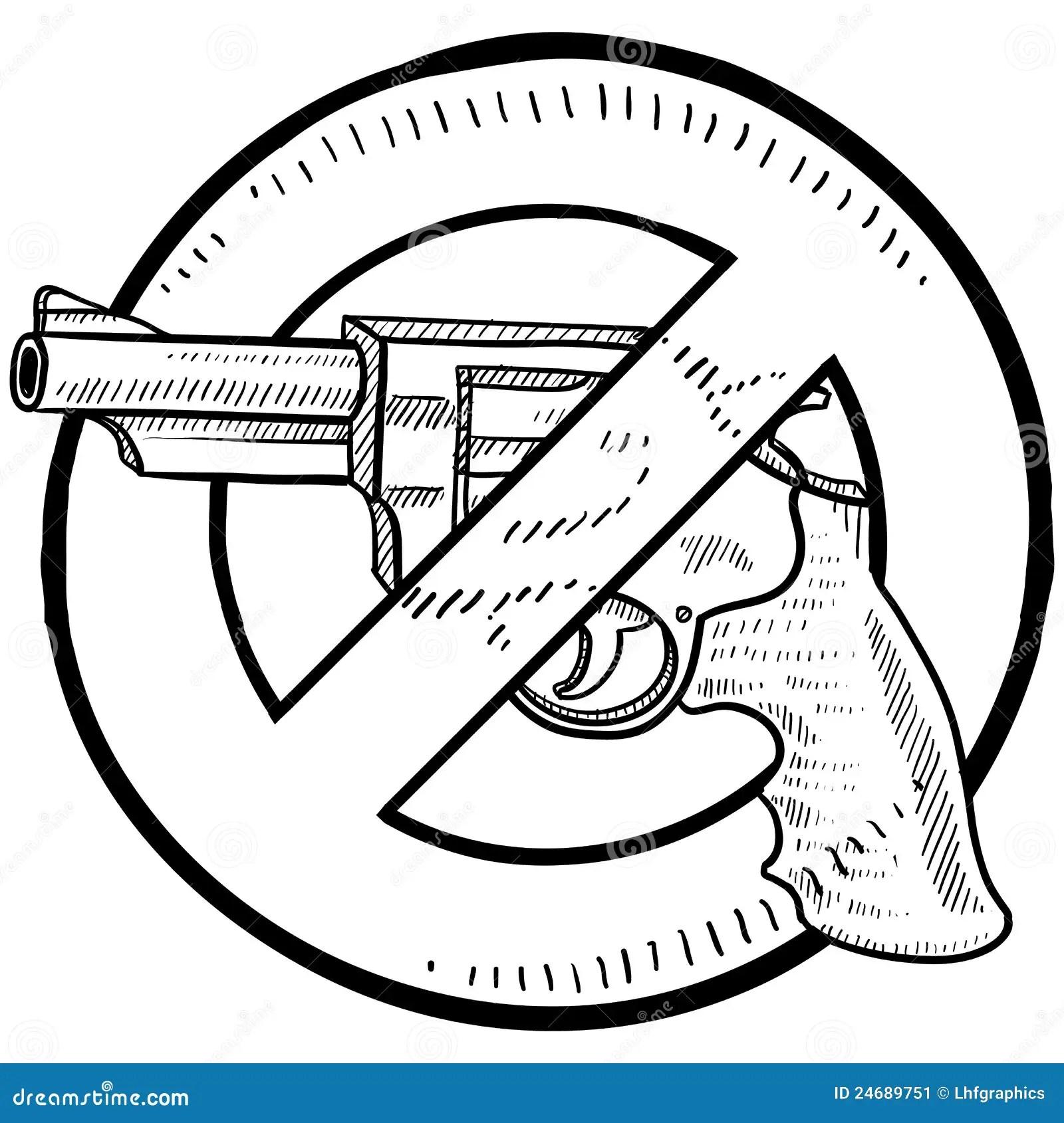 Gun Control Sketch Stock Vector Illustration Of Illegal
