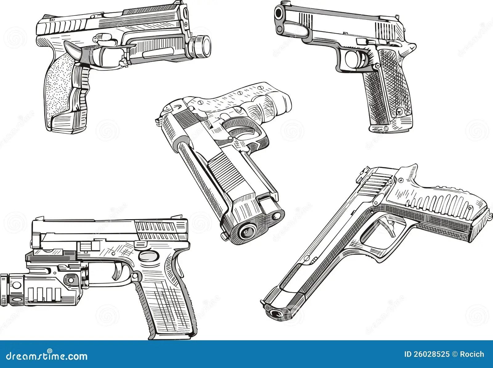Gun Sketches Royalty Free Stock Photo