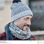 Portrait Of Smiling Man On Street Men In Warm Knitted Scarf Guy In Winter Hat And Scarf Stock Photo Image Of Caucasian Good 111338344
