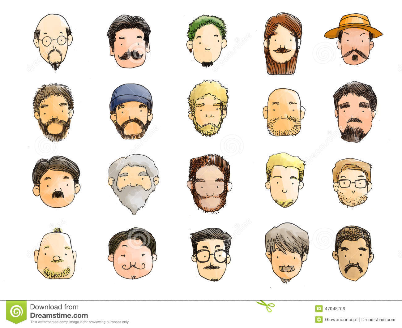 Guys With Beard Illustration No Shave November Stock