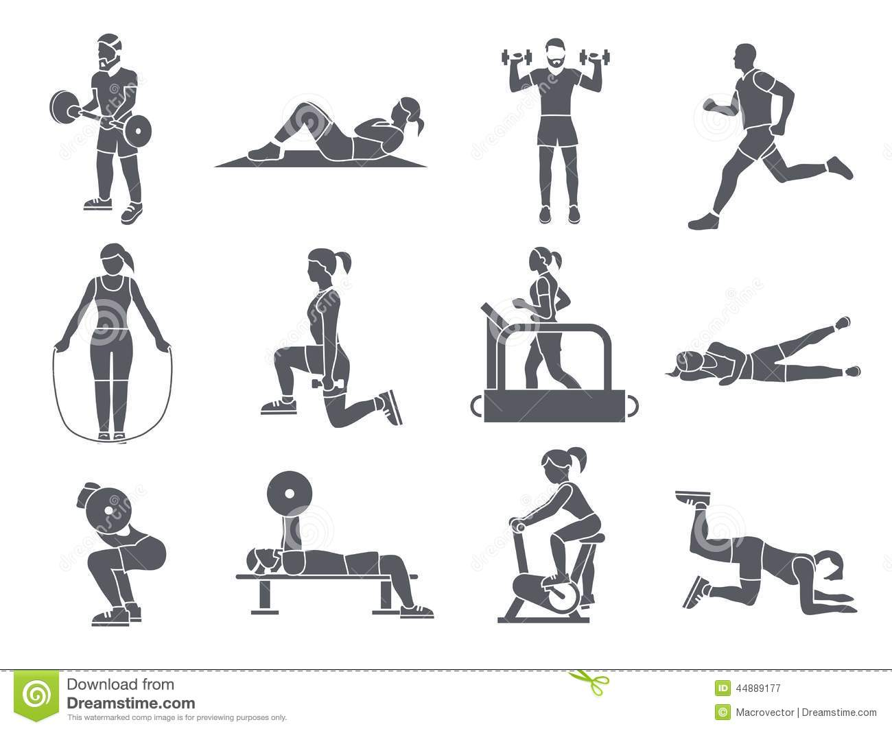 Gym Sport Exercises Icons Stock Vector