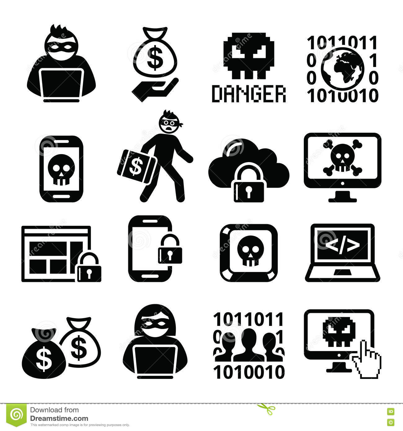 Hacker Cyber Cyber Crime Icons Set Stock Vector