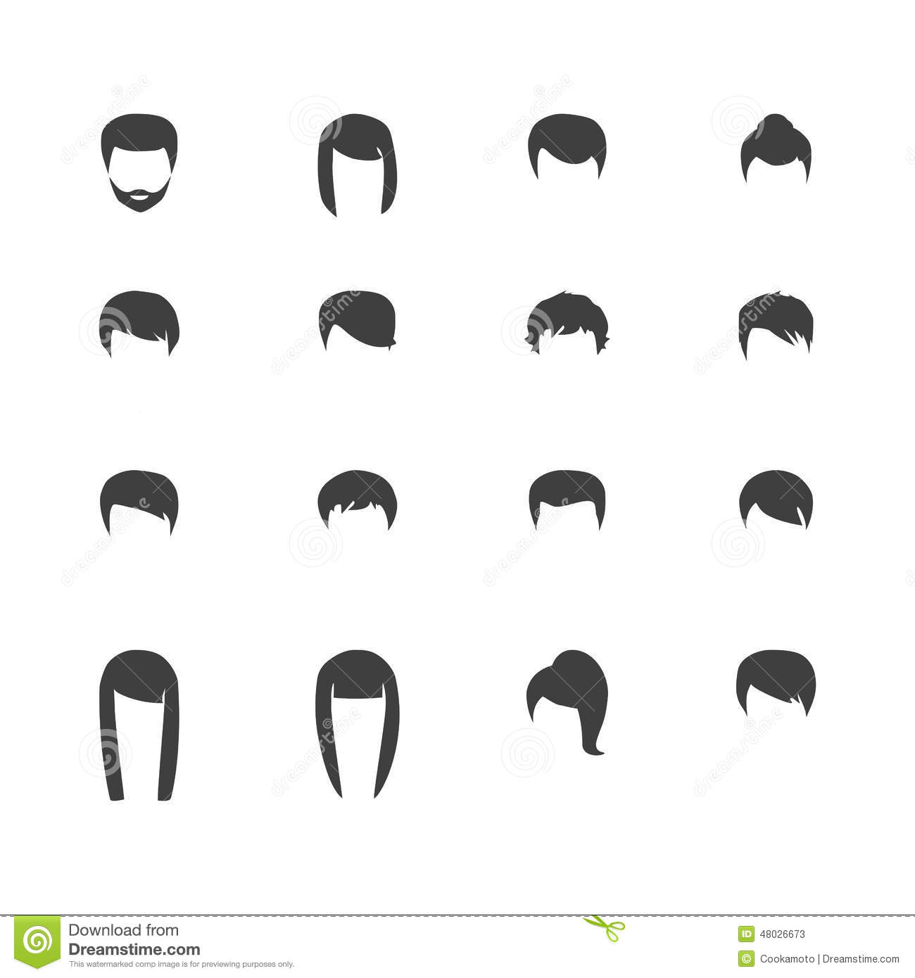 Hair Silhouettes Woman And Man Hairstyle Stock Vector