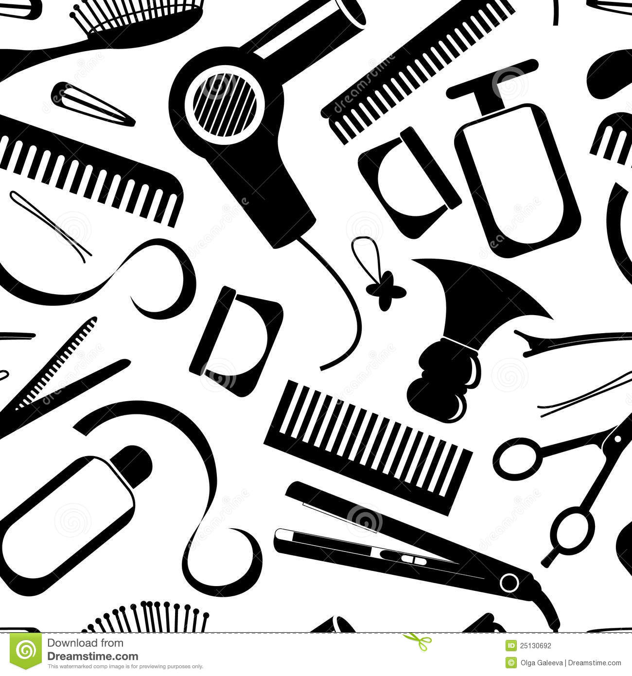 Hairdressing Equipment Pattern Stock Photography
