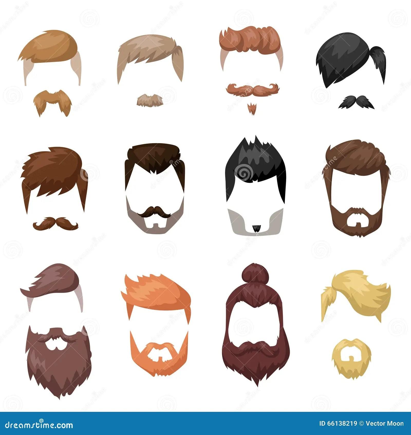 Hairstyles Beard And Hair Face Cut Mask Flat Cartoon