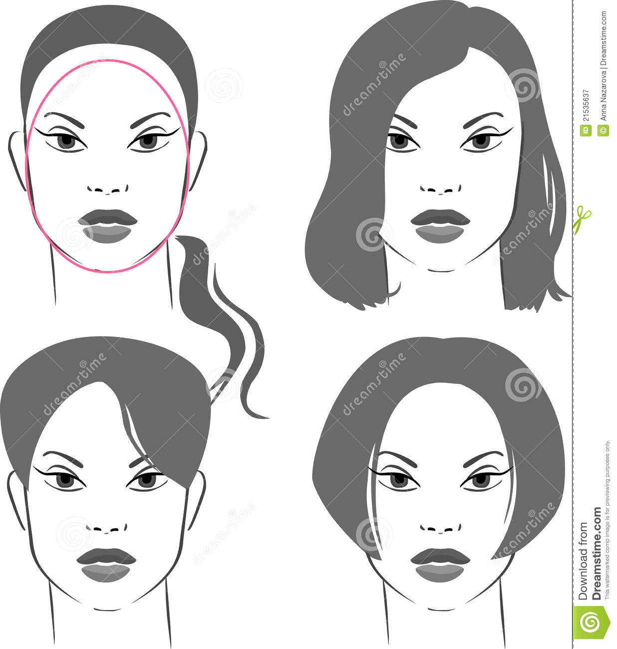 Hairstyles For Oval Face Royalty Free Stock Photography