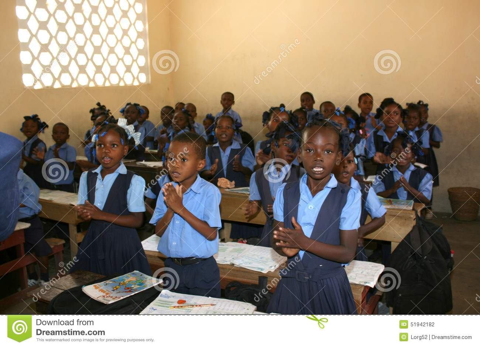Haitian School Children Welcome Visitors In Their