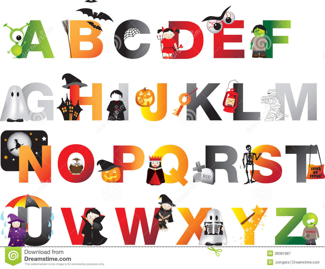 Halloween Alphabet Stock Illustration Illustration Of