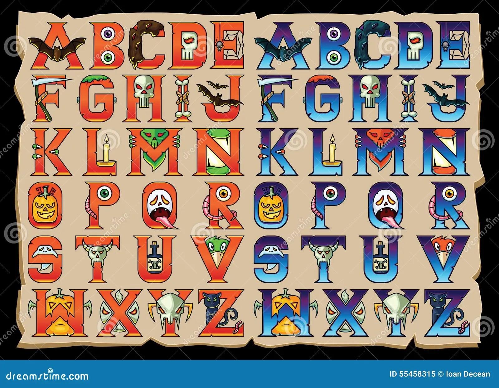 Halloween Alphabet Letters Set Stock Vector