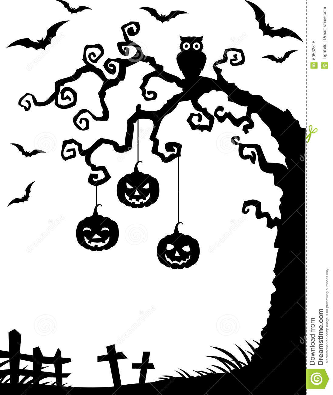 Halloween Background With Dead Tree Silhouette Owl And