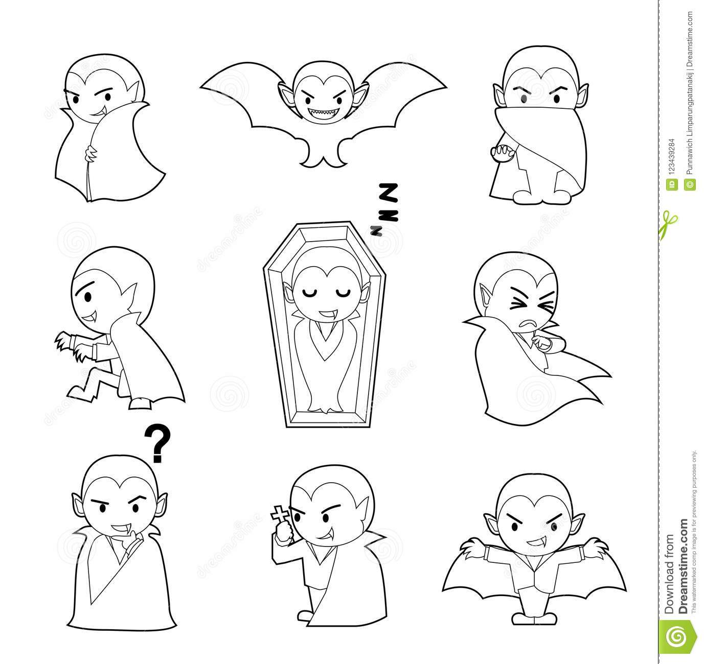 Halloween Character Big Head Poses Dracula Coloring Book