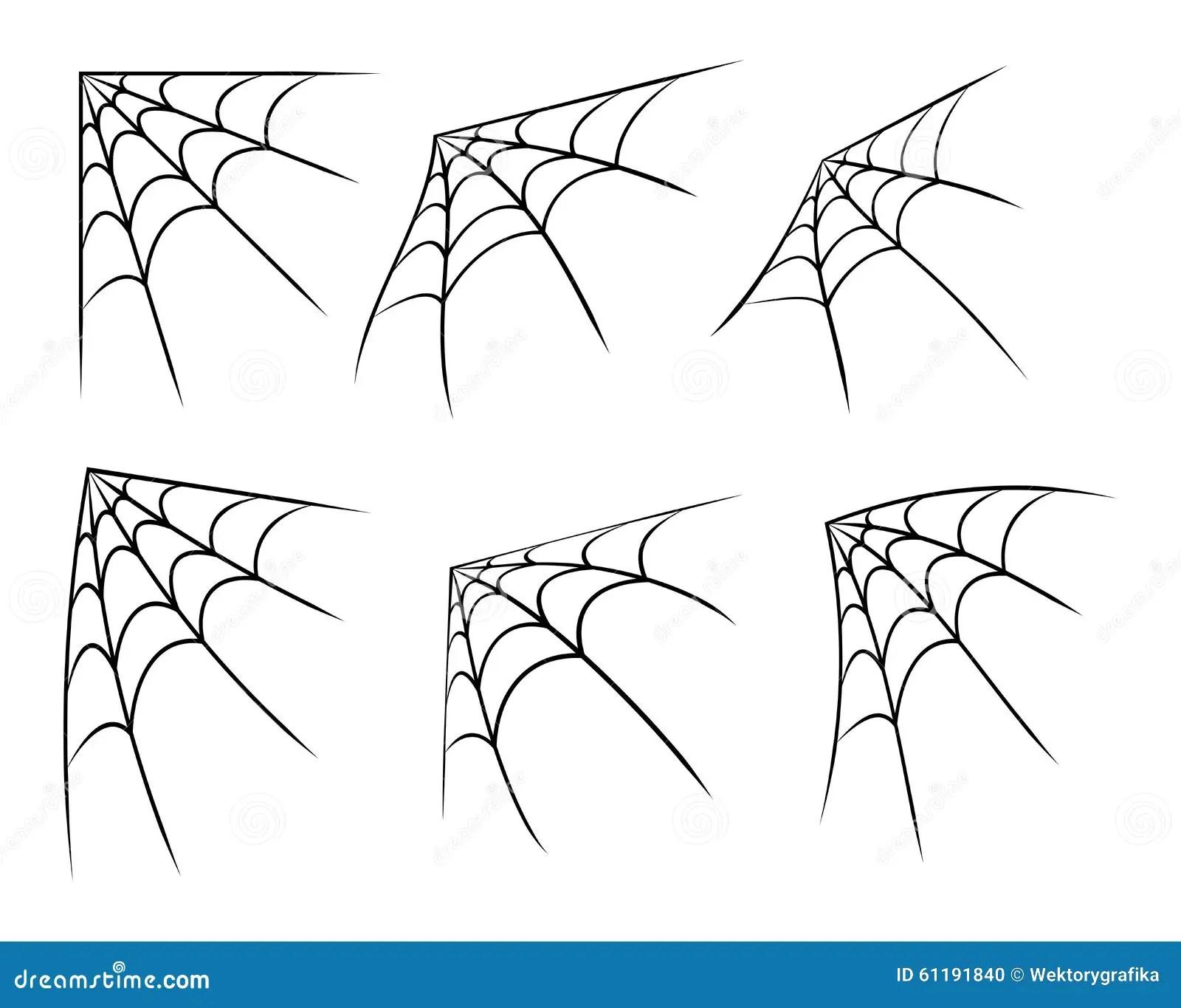 Halloween Corner Spider Web Cobweb Symbol Icon Set