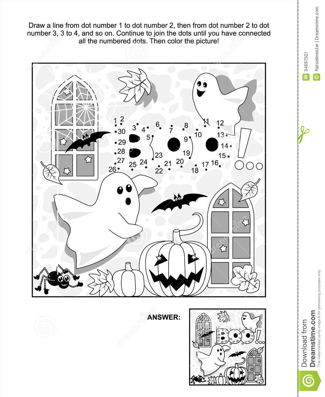 Halloween Dot To Dot And Coloring Page Stock Image