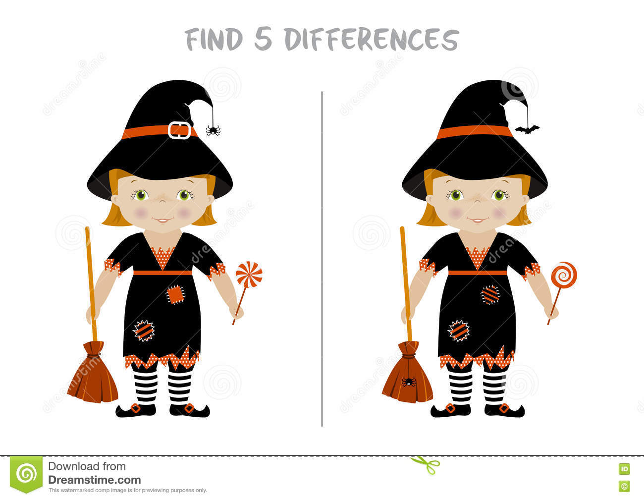 Halloween Find Differences Game For Kids Stock Vector