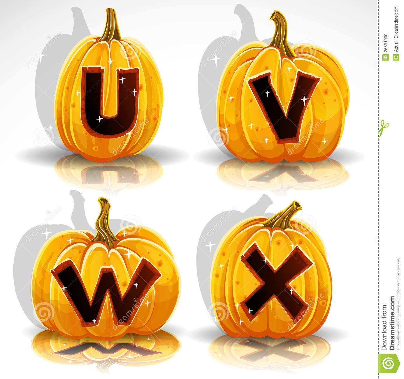 Halloween Font Cut Out Pumpkin Letter U V W X Stock Vector